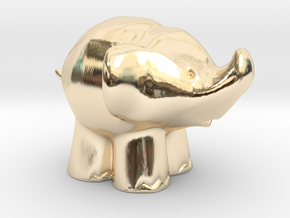 Cute Elephant in 14k Gold Plated Brass: Extra Small