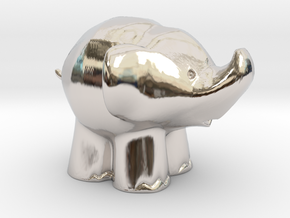 Cute Elephant in Rhodium Plated Brass: Extra Small