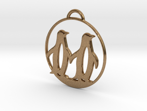 Penguins Couple H Necklace in Natural Brass
