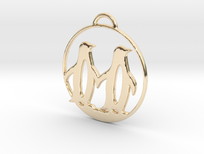 Penguins Couple H Necklace in 14K Yellow Gold