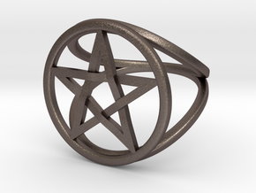 Pentacle ring - crossing in Polished Bronzed Silver Steel: 7.5 / 55.5