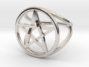 Pentacle ring - crossing in Rhodium Plated Brass: 7.5 / 55.5