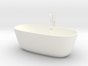 Freestanding bathtub with tap, 1:12 in White Processed Versatile Plastic: 1:12