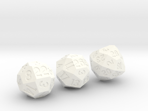 Set of 3 Dice: d22, d26, and d28 in White Strong & Flexible Polished