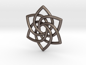 6 Pointed Celtic Knot Pendant in Polished Bronzed Silver Steel