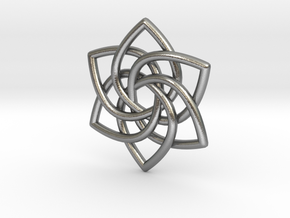 6 Pointed Celtic Knot Pendant in Natural Silver