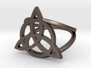 Triquetra ring in Polished Bronzed Silver Steel: 5 / 49