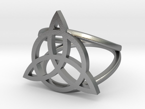 Triquetra ring in Natural Silver: 5 / 49