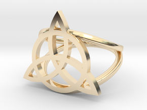Triquetra ring in 14k Gold Plated Brass: 5 / 49