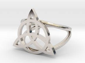 Triquetra ring in Rhodium Plated Brass: 7 / 54