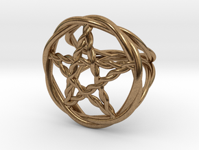 Pentacle ring - braided in Natural Brass: 6 / 51.5