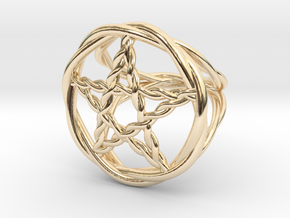 Pentacle ring - braided in 14k Gold Plated Brass: 6 / 51.5