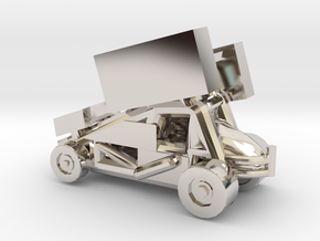 Stainless Sprint Car in Rhodium Plated Brass