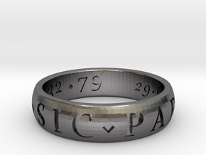 Size 11.5 Sir Francis Drake, Sic Parvis Magna Ring in Polished Nickel Steel