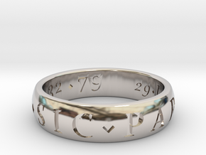 Size 11.5 Sir Francis Drake, Sic Parvis Magna Ring in Rhodium Plated Brass