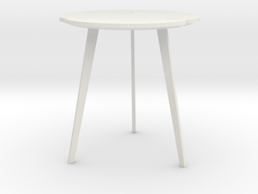 Miniature Flying Flower Pedestal Table - Roche Bob in White Natural Versatile Plastic: 1:12