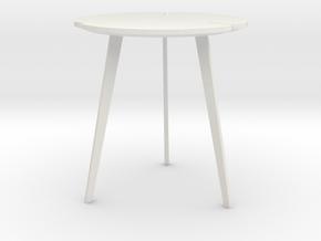 Miniature Flying Flower Pedestal Table - Roche Bob in White Natural Versatile Plastic: 1:12