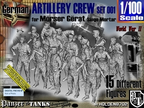 1/100 German Arty Crew Set001 in Smooth Fine Detail Plastic