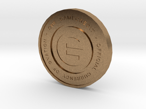 Physical Game Credits Coin thin model in Natural Brass
