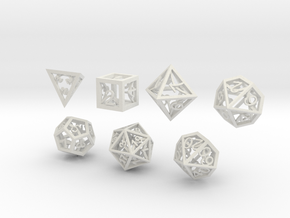 Open Hollow Polyhedral Dice Set in White Natural Versatile Plastic