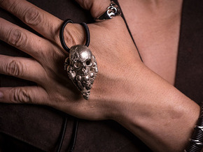 Nuclear Decimation: Skull Pendant in Polished Bronzed Silver Steel: Large