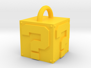 Mystery box keychain in Yellow Processed Versatile Plastic