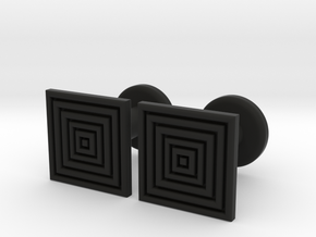 Geometric, Minimalistic Men's Square Cufflinks in Black Natural Versatile Plastic