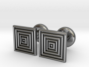 Geometric, Minimalistic Men's Square Cufflinks in Polished Silver