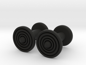 Geometric, Minimalistic Men's Circular Cufflinks in Black Natural Versatile Plastic