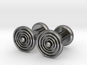 Geometric, Minimalistic Men's Circular Cufflinks in Polished Silver