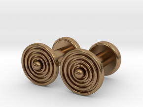 Geometric, Minimalistic Men's Circular Cufflinks in Natural Brass