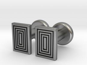 Geometric, Minimalistic Men's Rectangular Cufflink in Natural Silver