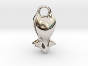 """A fish tail"" Pendant in Rhodium Plated Brass"