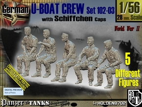 1/56 German U-Boot Crew Set102-03 in Smooth Fine Detail Plastic