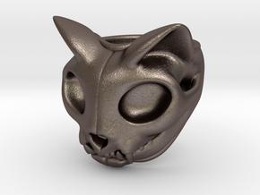 Cat Skull Ring in Stainless Steel: 8 / 56.75