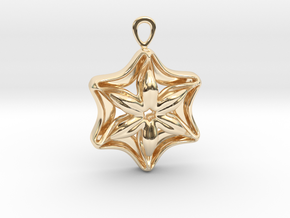 """In full bloom"" Pendant in 14k Gold Plated Brass"