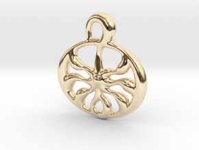 Ancient sun  in 14k Gold Plated Brass