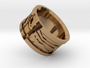 Damascus Ring (random pattern) in Polished Brass