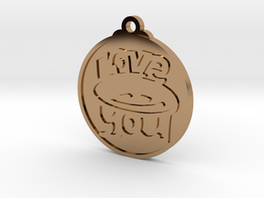 Love You face pendant in Polished Brass
