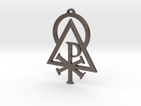 Sigil of the Logos Pectoral Pendant in Polished Bronzed Silver Steel