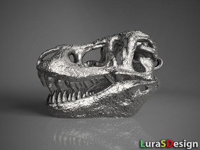 T-Rex Skull 30mm Pendant - Keychain in Polished Bronzed Silver Steel