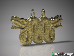 Double Serpent Pendant in Raw Brass