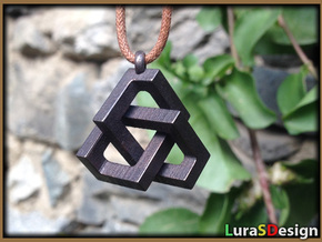 Square Knot Pendant in Stainless Steel: Medium