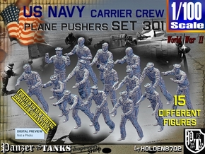 1/100 USN Carrier Deck Pushers Set301 in Smooth Fine Detail Plastic