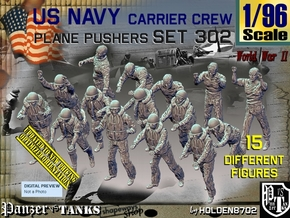 1/96 USN Carrier Deck Pushers Set302 in Smooth Fine Detail Plastic