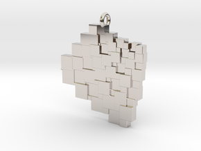 Squaring the Plane Pendant I in Rhodium Plated Brass