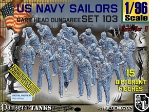 1/96 USN Dungaree Barehead Set103 in Smooth Fine Detail Plastic