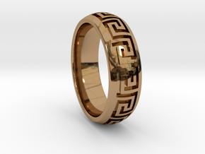 Greek Pattern Ring 01 in Polished Brass