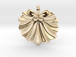 Seashell Fan Pendant in 14K Yellow Gold