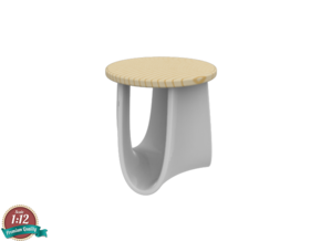 Miniature Sag Stool - Mdf Italia / Nendo in White Natural Versatile Plastic: 1:12